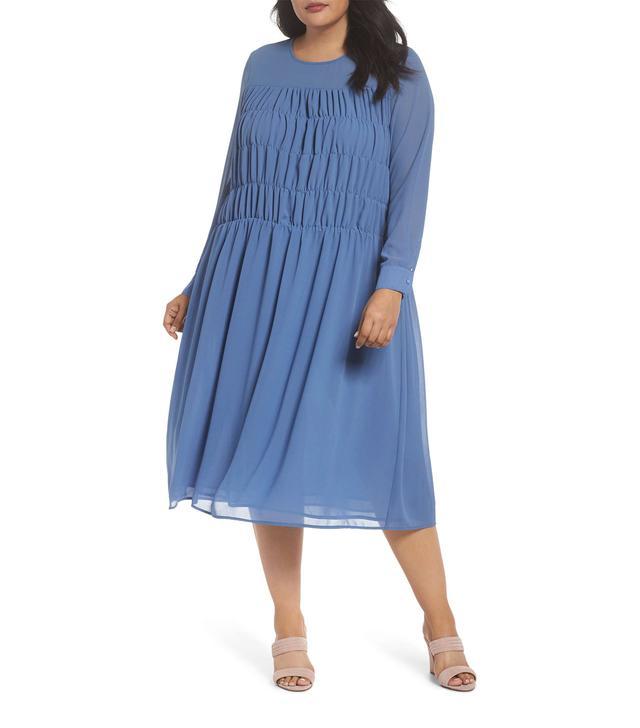 Plus Size Women's Glamorous Smocked Chiffon Dress