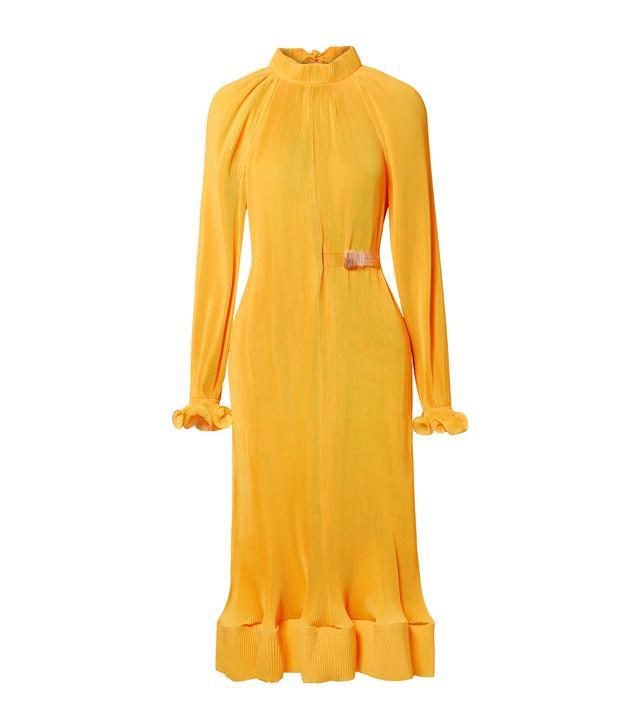 Belted Plissé-satin Midi Dress