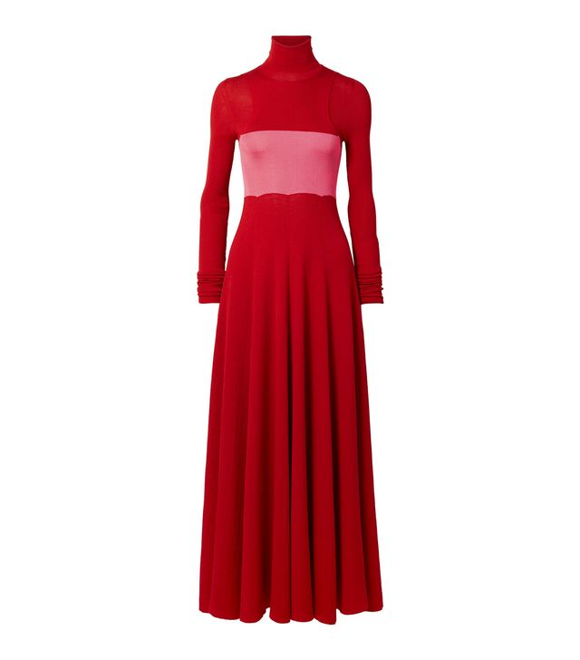 Two-tone Ribbed Silk And Wool-blend Maxi Dress