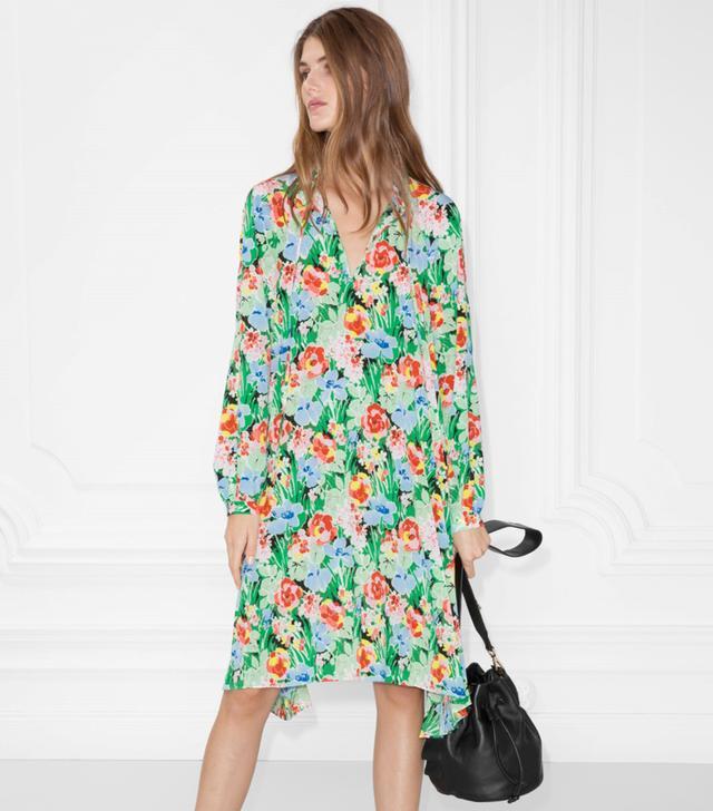 Pleated High Neck Dress