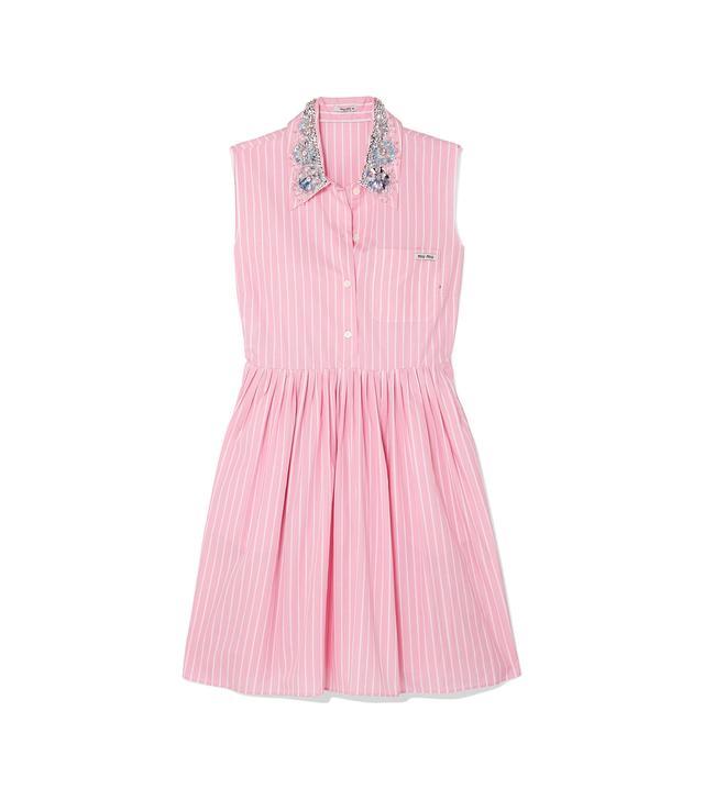 Embellished Striped Cotton-poplin Mini Dress