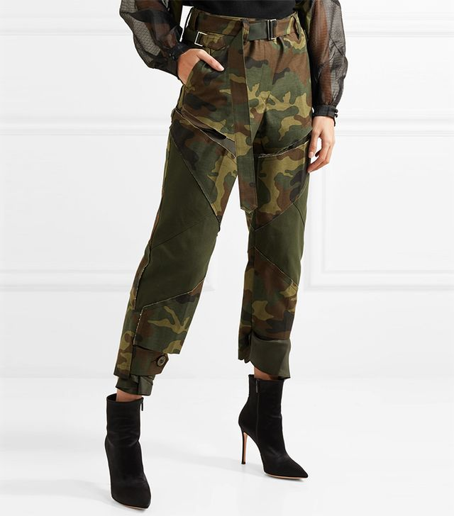 Distressed Camouflage-Print Cotton Straight-Leg Pants