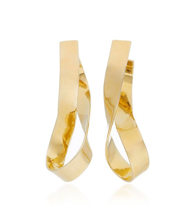 Medium Thick Script Gold-Plated Earrings