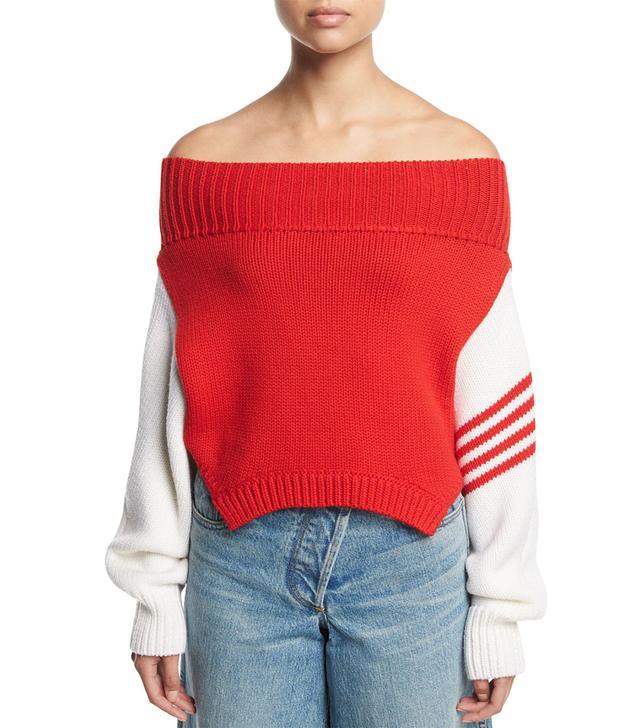Monse Knit Off-Shoulder Side-Stripe Sweater