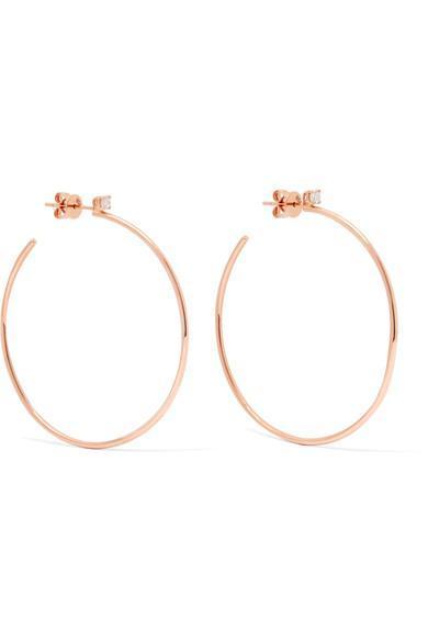 18-karat Rose Gold Diamond Hoop Earrings