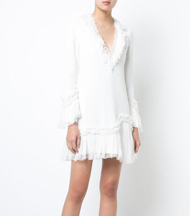 ruffle trimmed mini dress