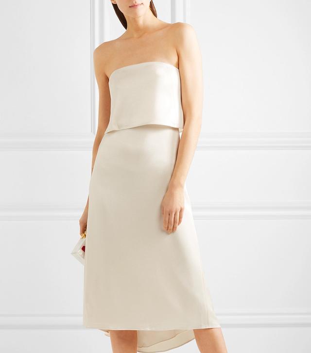 Tiered Satin Midi Dress