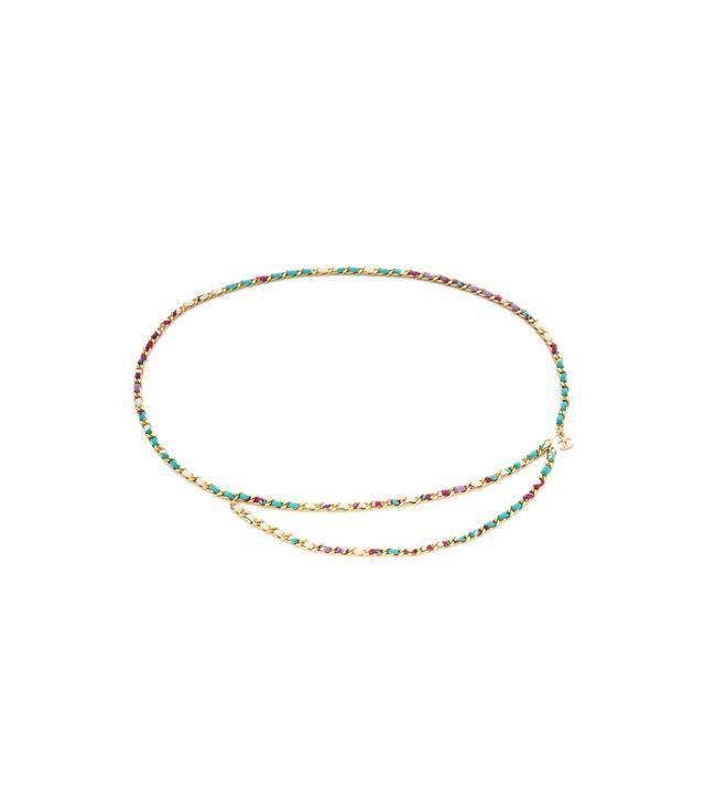 Chanel Printed Silk & Chain Link Belt