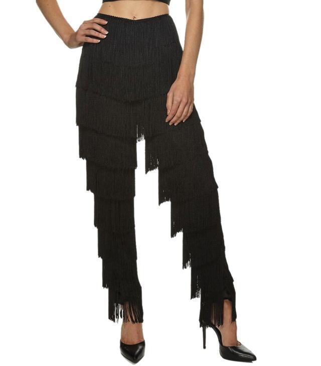 Norma Kamali Black Fringe Trousers