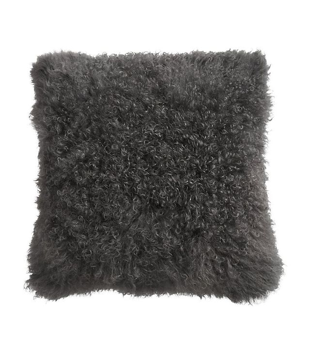 "16"" Mongolian Carbon Sheepskin Pillow with Down-Alternative Insert"