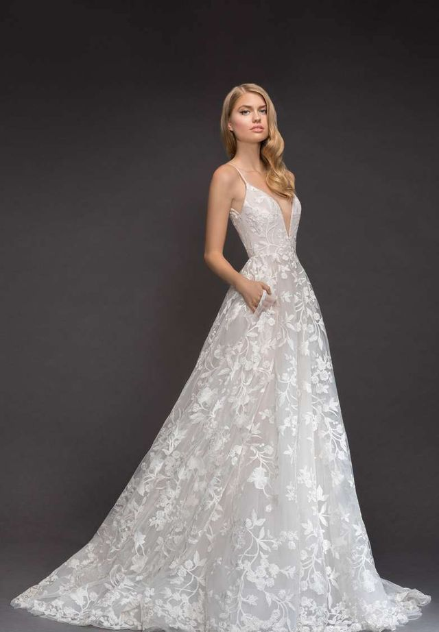 Women's Blush By Hayley Paige Fleur De Lis Embroidered Tulle Ballgown