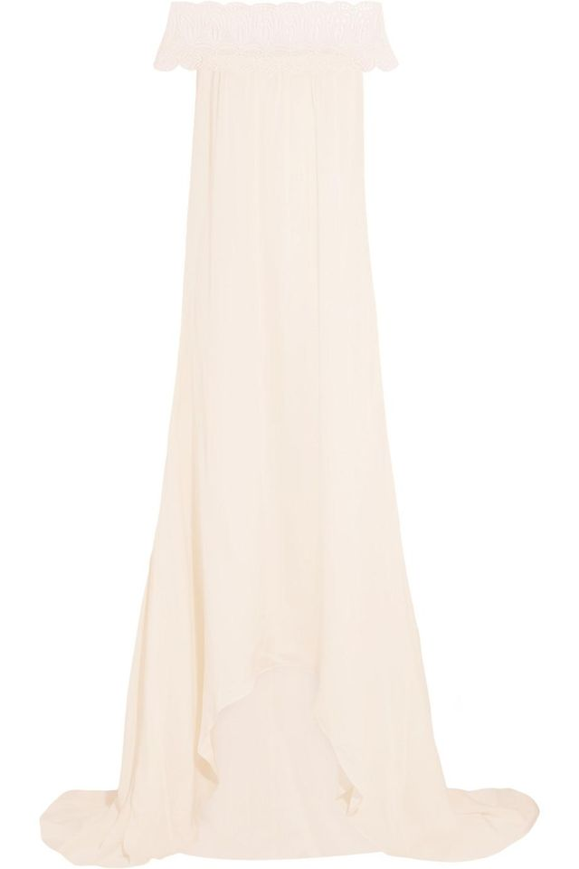 Bardot Guipure Lace-trimmed Satin Gown