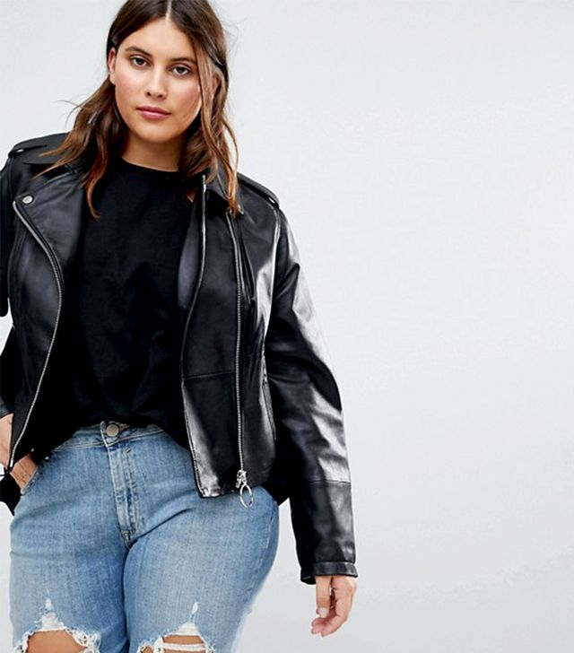 ASOS Curve Leather Jacket With Ring Pull Details