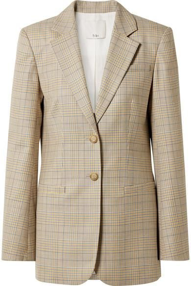 Cooper Oversized Prince Of Wales Checked Wool And Silk-blend Blazer