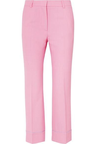 Cropped Twill Flared Pants
