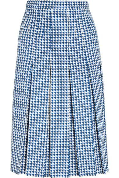 Pleated Houndstooth Wool-blend Skirt