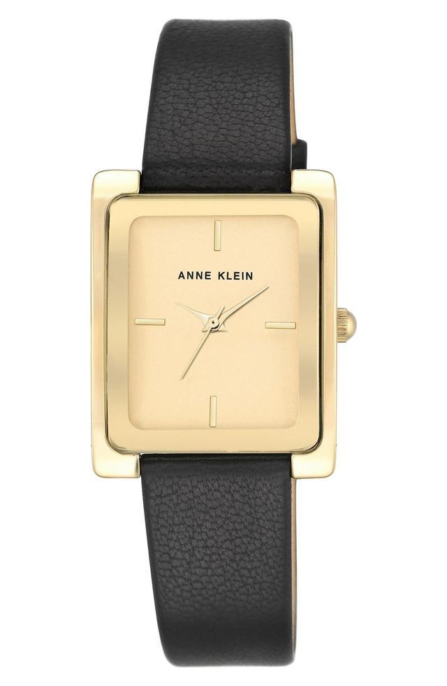 Rectangular Leather Strap Watch