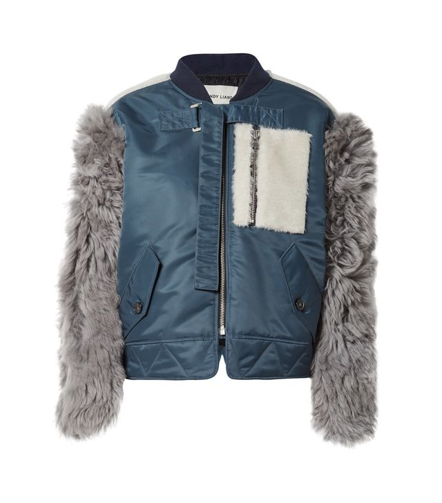 Peter Shell And Shearling Bomber Jacket