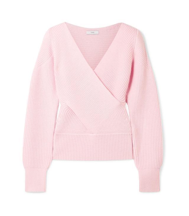 Wrap-effect Cutout Ribbed Merino Wool Sweater
