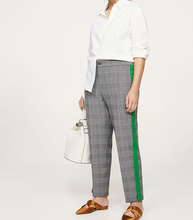 Contrasting trims checked trousers