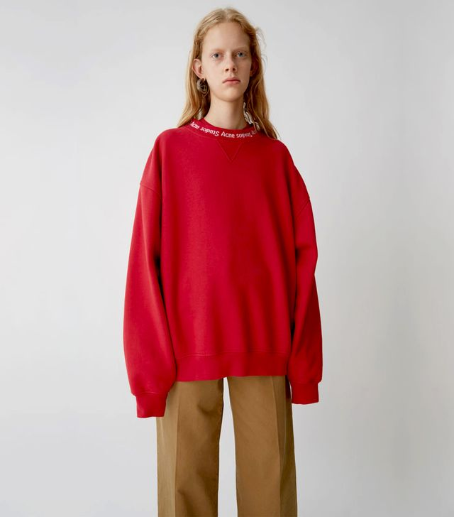 Acne Yana Rib Ruby Red Sweatshirt