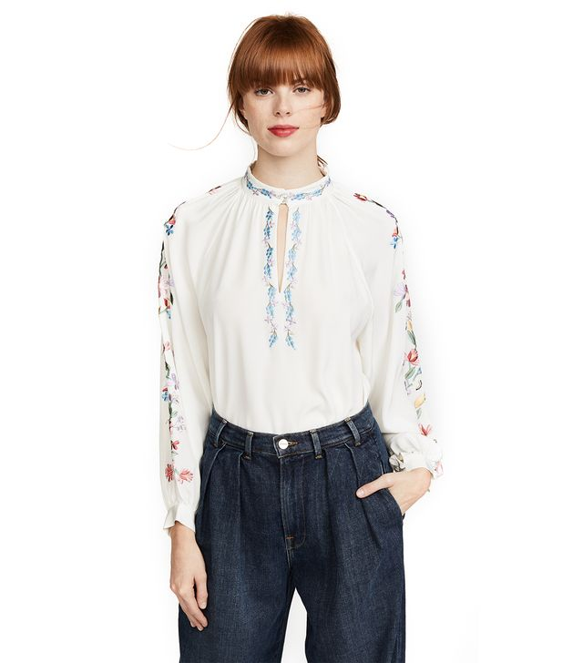 Faye Embroidered Silk Blouse