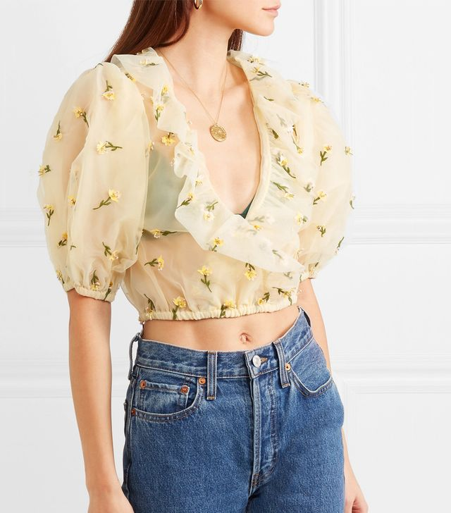 Bliss Cropped Embellished Tulle Top