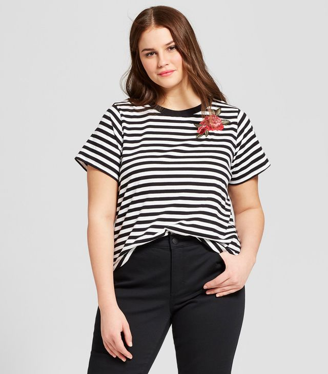 Who What Wear Short Sleeve Floral Patch T-Shirt