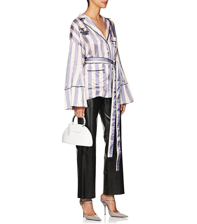 Women's Striped Satin Belted Blouse