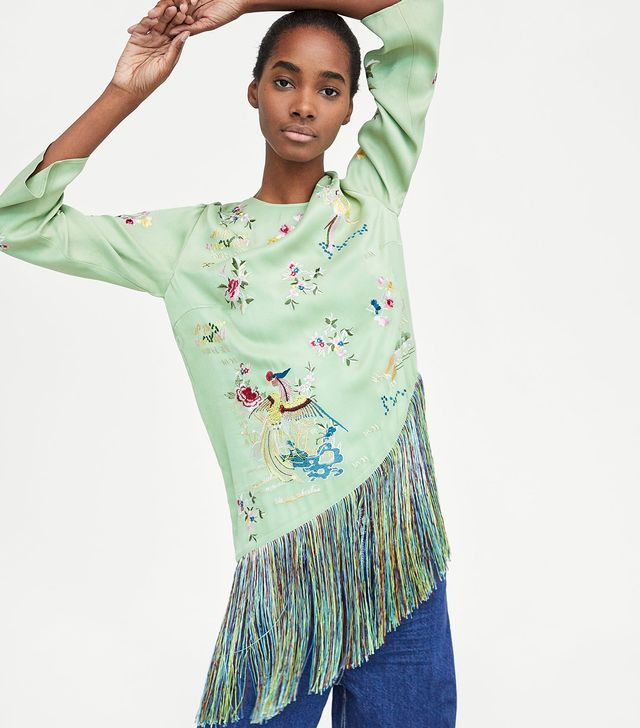 Zara Embroidered Top With Fringing