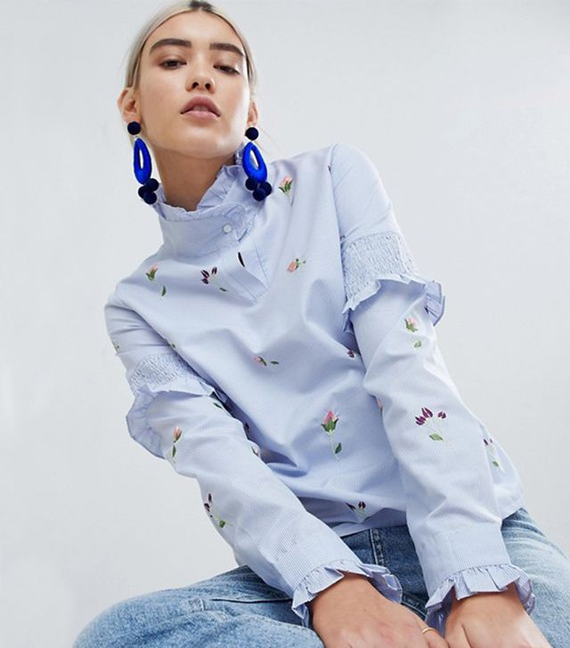 Boohoo High Neck Striped Embroidered Blouse