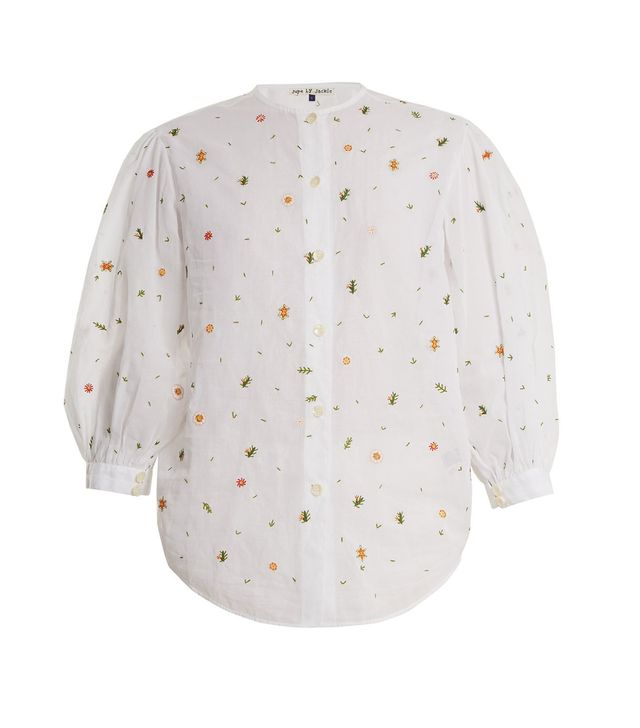 Agrigan floral-embroidered cotton blouse
