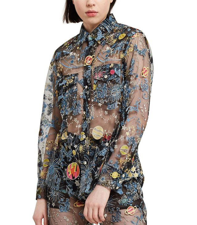 Adam Selman Astro Embroidered Tulle Sheer Shirt