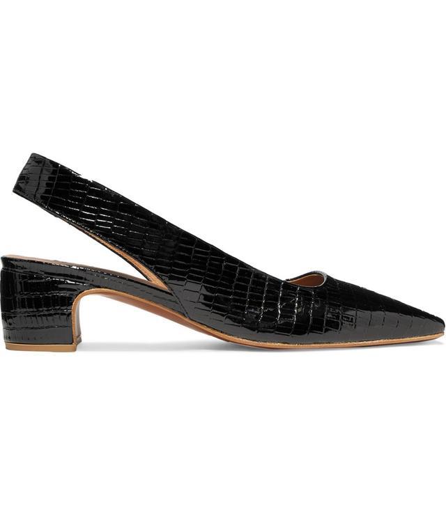 Danielle Croc-effect Patent-leather Slingback Pumps