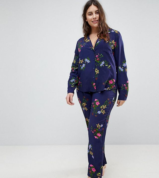 ASOS CURVE Midnight Blue Floral Traditional Shirt & PANTS Pajama Set