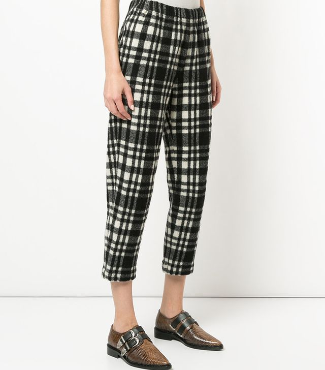 thick check trousers