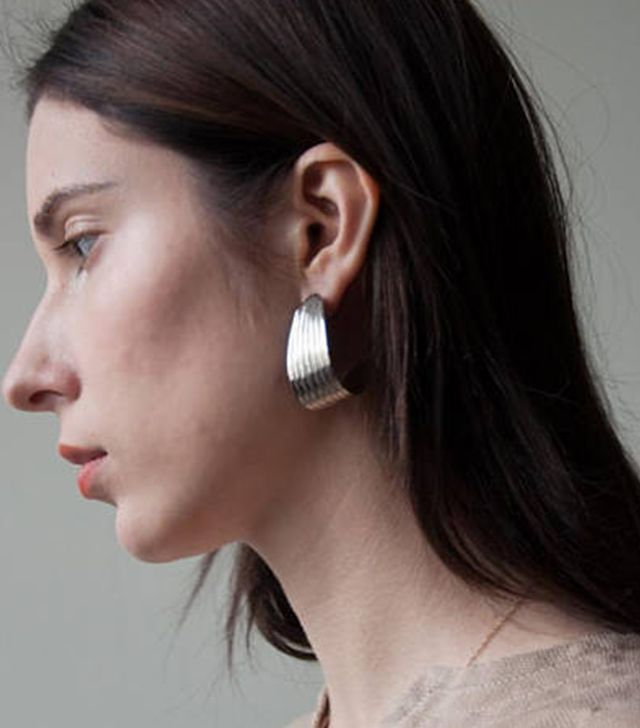 Persephone Vintage Folded Ridged Silver Earrings