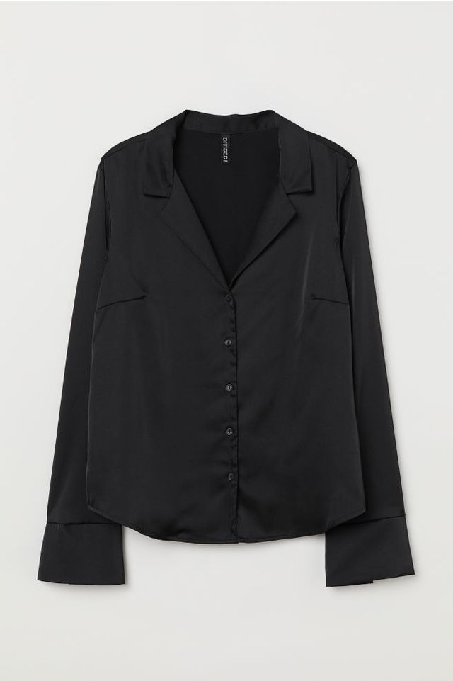 H&M Long-Sleeved Satin Blouse
