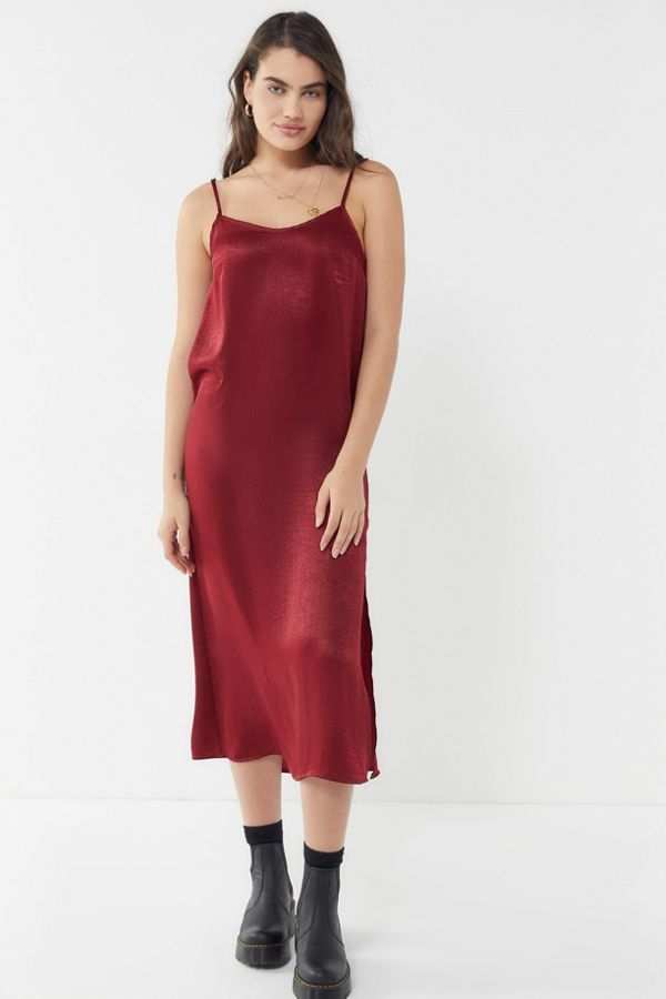 Remnants Satin Side Slit Midi Slip Dress