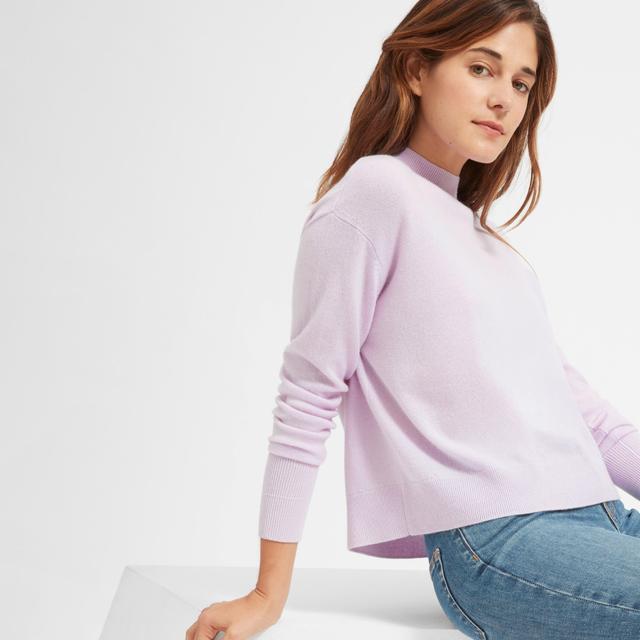 Women's Cashmere Crop Mockneck Sweater by Everlane in Lavender, Size XL