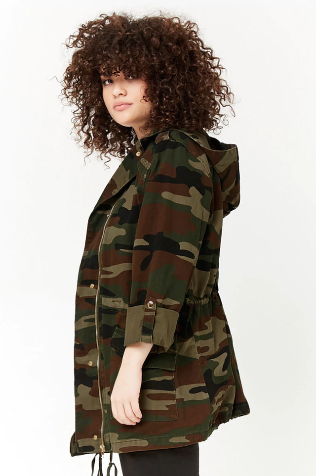 Forever 21 Hooded Camo Utility Jacket