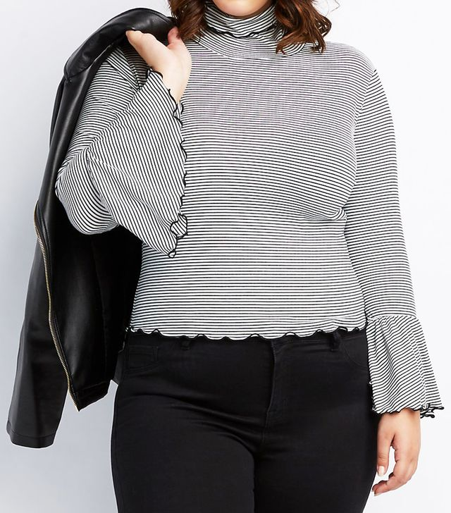 Ribbed Lettuce Edge Mock Neck Top