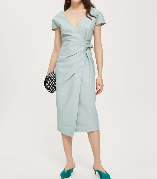 PU Midi Length Wrap Dress