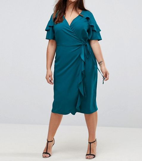 ASOS CURVE Midi Wrap Dress With Ruffle Sleeve
