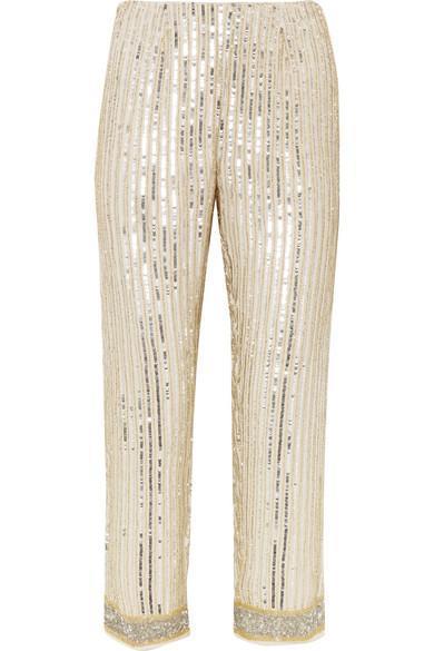 Temple Cropped Embellished Chiffon Straight-leg Pants