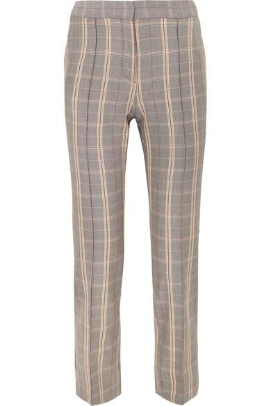 Checked Twill Tapered Pants