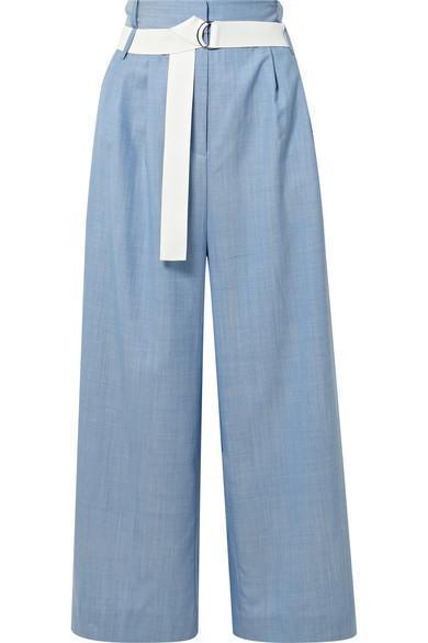 Serge Belted Cropped Wool Wide-leg Pants