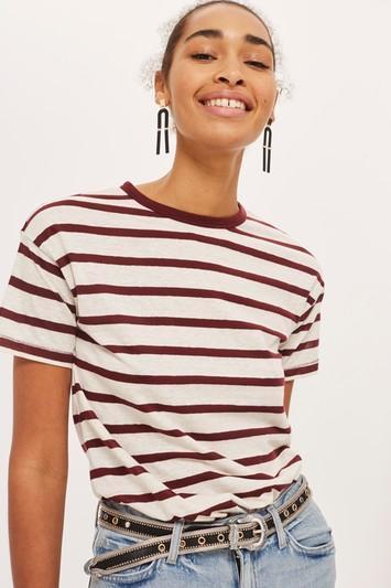 PETITE Bold Striped Marl T-Shirt