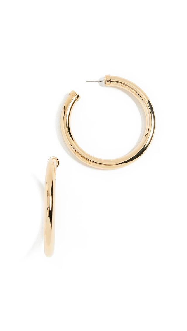 Large Gold Tube Hoop Earrings