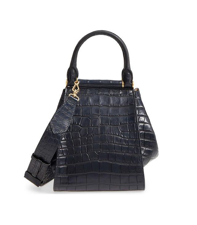 Small Anita Croc-Embossed Leather Satchel - Blue